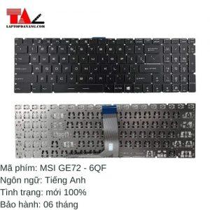 Bàn Phím Laptop MSI GE72-6QF